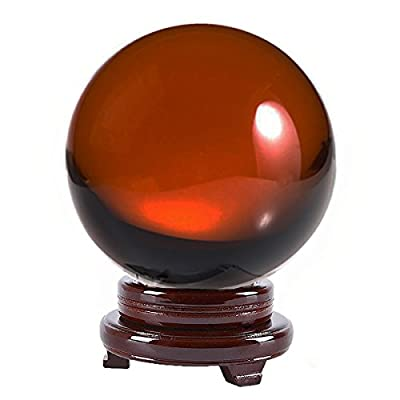 Amlong Crystal 8 inch (200mm) Crystal Ball Including Wooden Stand and Gift Package