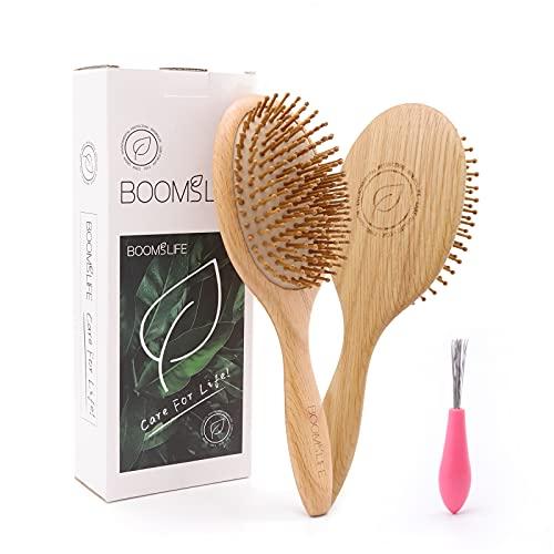 Hair Brush-USA Oak Wood Hair Brush for Wet/Dry Hair Smoothing...