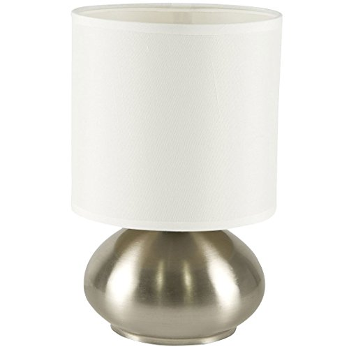 Light Accents Touch Table Lamp - Lamps for Bedrooms Bedside Set with Fabric Shades and 3-Stage Touch Dimmer Switch Brushed Nickel Finish