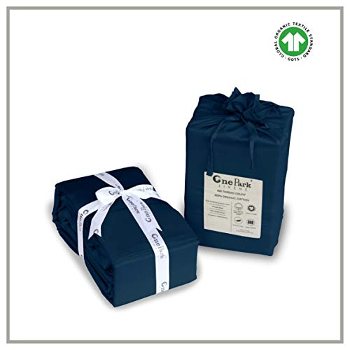 ONE PARK LINENS, Organic Cotton Sheet Set, GOTS Certified – Eco Friendly, 400 Thread Count, Incredibly Soft and Luxurious Sateen Weave – Queen, Navy Blue