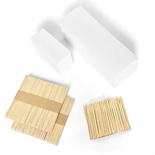 Vumdua 200 Pcs Non-Woven Waxing Strip for Hair Removal and 200 Pieces Wax Applicator Sticks