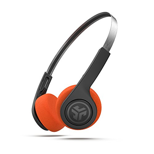 JLab Audio Rewind Cuffie Bluetooth retro leggero in nero - Include pad auricolari in schiuma nera e arancione.