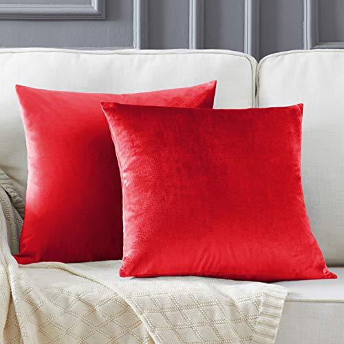 Gigizaza Rojo Terciopelo Almohada Cubre Caso Suave decoración Fundas de de cojín para sofá Dormitorio CocheCama Casa Decor 45x45cm ,Pack de 2