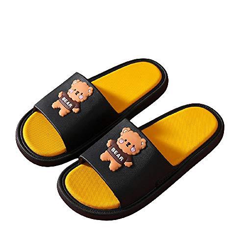 XZDNYDHGX Zapatos De Playa Y Piscina Mujer Negro, Sandalias de Dibujos Animados de Verano para Mujer, Zapatillas Chanclas Antideslizantes de baño para Parejas de Interior para Hombres, EU 39-40