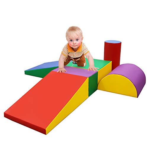 Read About EOSAGA Climb and Crawl Soft Foam Play Set, Indoor Room Preschool Corner Baby Stage Slide ...