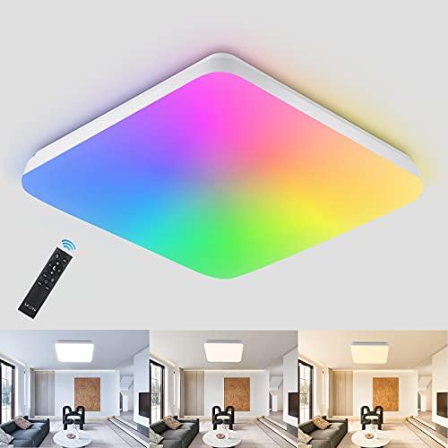 RGB Dimmbar LED Deckenleuchte 24W mit Fernbedienung, LED Deckenlampe dimmbar mit 7 Farbwechsel, LEOEU IP54 Leuchte für Wohnzimmer Schlafzimmer Kinderzimmer Bad