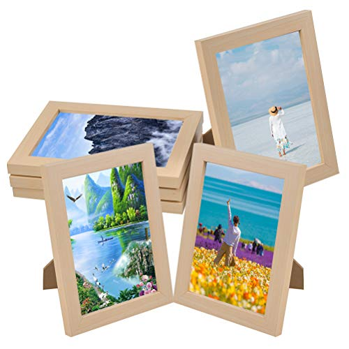 TIMESETL 6 inch Photo Frame MDF Photo Frame Wall and Picture Frames with High Definition Glass for Wall Mount Table Top Display (13.1x18,2x1.5cm /Set of 4)