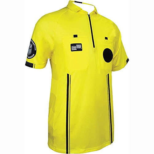 Official Sports New USSF Men's Pro Soccer Referee Yellow SS Shirt (X-Large)