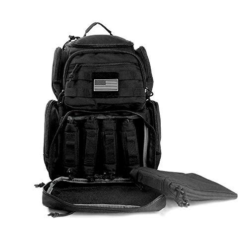 K-Cliffs Shooting Range Pistol Backpack | Up to 5 Handguns | Dedicated Mag Storage | Black