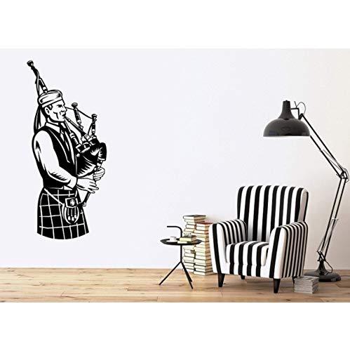 Vinilo de pared Apliques Músico escocés Música nacional Gaitas irlandesas Cartel Hogar Dormitorio Arte Diseño Decoración 42x94cm