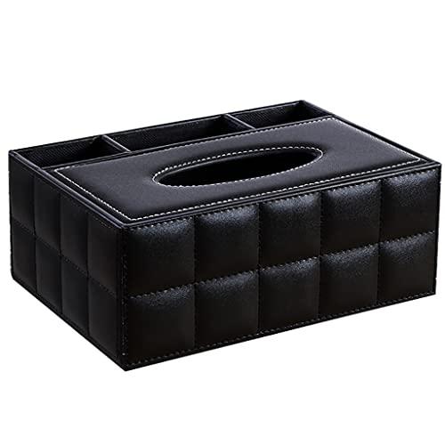 JIUYECAO Caja de pañuelos de servilleta de Cuero sintético Multifuncional 3 Compartimentos Soporte de Control Remoto bolígrafo Organizador de lápices
