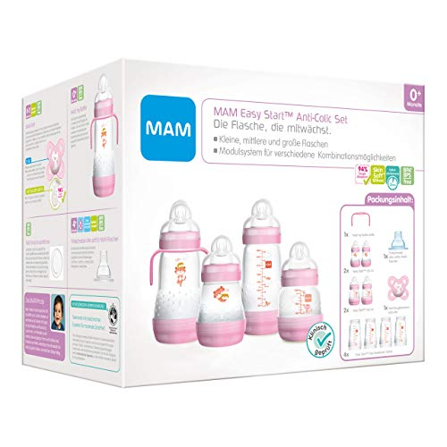 MAM Easy Start Anti-Colic Babyflaschen Set, mitwachsende Baby Erstausstattung mit Schnuller, Flaschen etc., Baby Geschenk Set, ab Geburt, Tiger