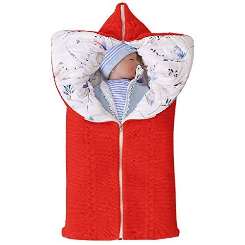 manta de cochecito de bebé, manta de bebé recién nacido saco de dormir cálido de invierno para bebés o niños de 0-12 meses (rojo)