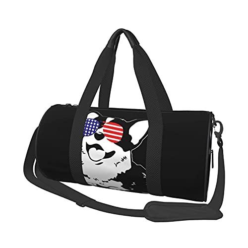 Bolsa de deporte de viaje, diseño de bandera americana, gafas de Corgi, cuerpo cruzado redondo, ligera, duradera, bolsa de fin de semana para hombre y mujer