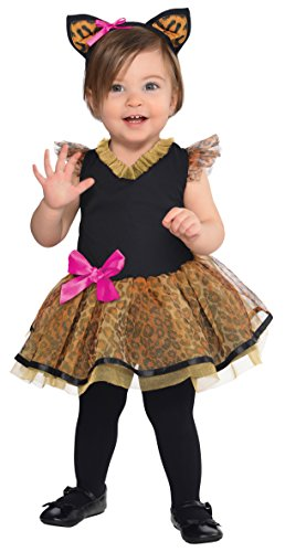 Amscan Halloween-Kostüm für Babys, für Mädchen, Design: niedliche Katze, Set mit Kleid und Haarreif mit Ohren