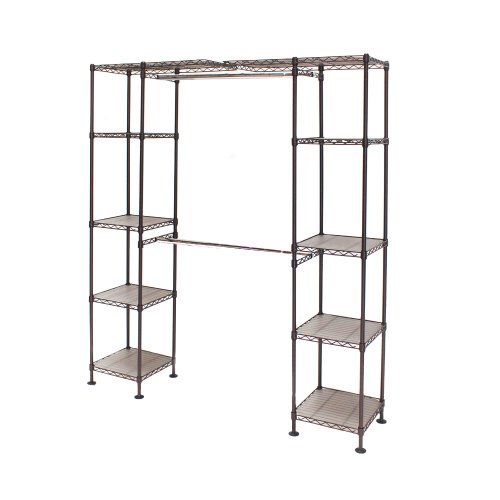 "Seville Classics Expandable Double-Rod Clothes Rack Closet Organizer System, 58"" to 83"" W x 14"" D x 72"", Satin Bronze, x x"