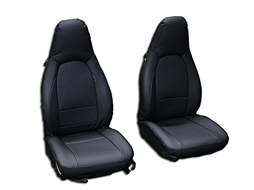 Iggee Black Artificial Leather Custom Made Original fit Front seat Covers Designed for Porsche Boxster 1997-2004