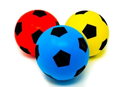 E-Deals - Pack de 3 pelotas de esponja para deportes de interior y exterior, color azul, rojo y amarillo, 20 cm