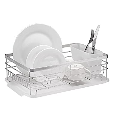 Stylish Sturdy Stainless Steel Metal Wire Medium Dish Drainer Drying Rack (Stainless Steel, Chrome)