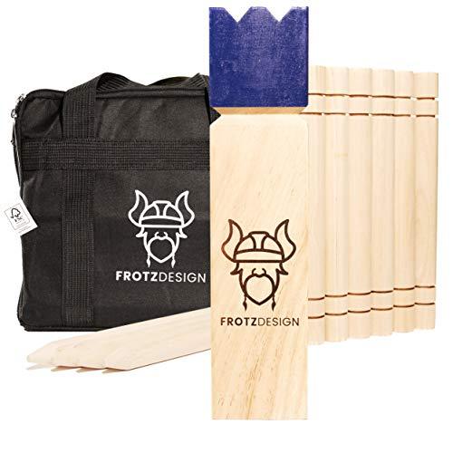 Kubb by FrotzDesign - Wikingerschach mit der Königsblauen Krone Hochwertig, Robust, FSC Zertfiziert - das Original Outdoor Gesellschaftsspiel aus Holz für die ganze Familie