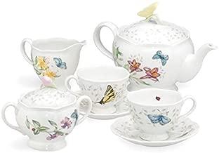 Lenox 6386635 Butterfly Meadow 8-Piece Tea Set, Service for 2, White