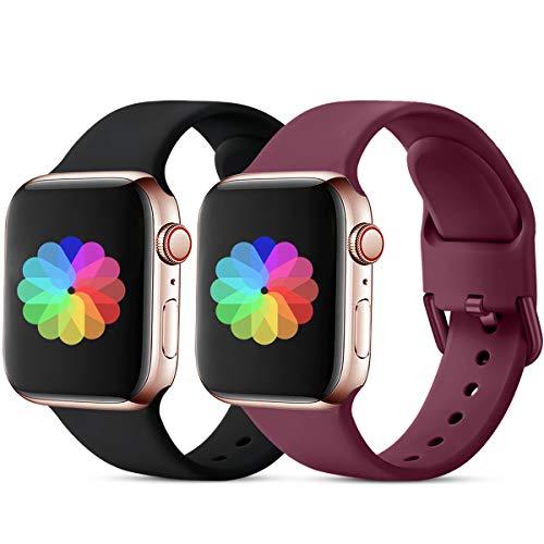 CeMiKa Sport Armband Kompatibel mit Apple Watch Armband 38mm 40mm 42mm 44mm, Ersatzarmband Silikonband Kompatibel mit Apple Watch SE/iWatch Series 6 5 4 3 2 1, 38mm/40mm-S/M Schwarz/Rote Schnalle