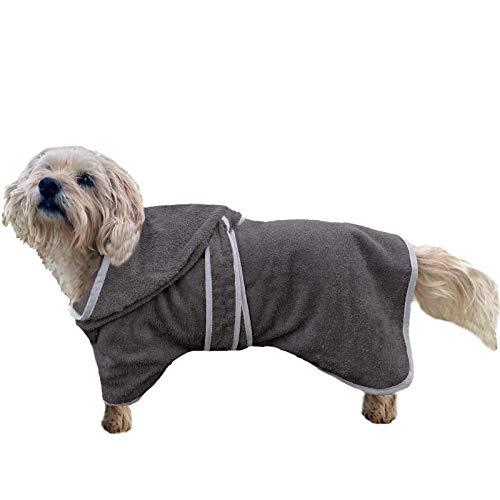 HOMELEVEL Hunde Bademantel aus 100% Baumwolle für Weibchen und Männchen schnell trocknend Hund Bademantel Handtuch Anthrazit/Grau S