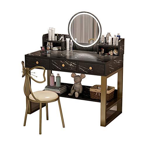 Nordic Vanity Table Set Mit Beleuchtetem LED-Dimmspiegel, Make-Up-Schminktisch Mit 3 Schiebeschubladen, 1 Gepolsterter Stuhl Für Schlafzimmer, Badezimmer,Schwarz,90CM