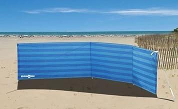 Tidyard Paraviento Plegable de 3 Paneles para Playa,Textil no Tejido,Postes de Madera,Blanco 400x120cm