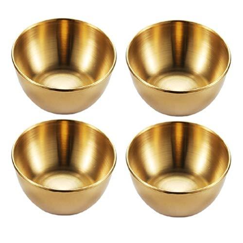 BESTonZON 4 Stück Edelstahl Dip Schalen Runde Gewürzschalen Sushi Tauchschale Untertassen Schüssel Mini Vorspeise Teller Gewürzschale Untertassen Teller Gold