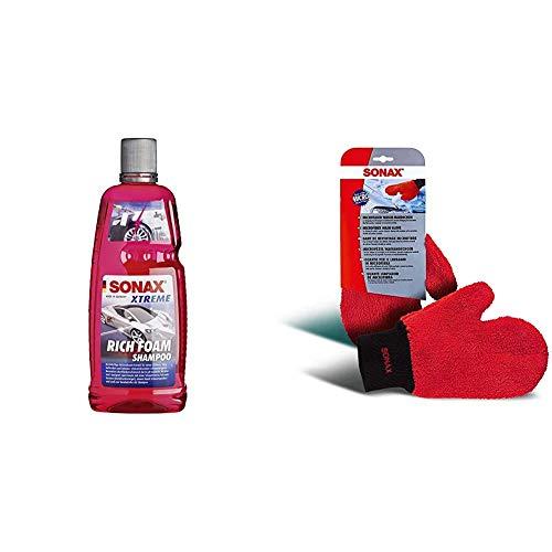 SONAX XTREME RichFoam Shampoo (1 Liter) Schaum-Shampoo / Snow Foam Shampoo erzeugt dichten, langhaftenden & schmutzlösenden Schaumteppich, ph-neutral, Berry-Duft & 428200 Microfaser Wasch Handschuh
