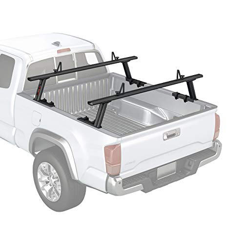 utility rack for trucks AA-Racks Model APX2502-BLK Low-Profile Utility Aluminum Pick-Up Truck Ladder Rack with Load Stops