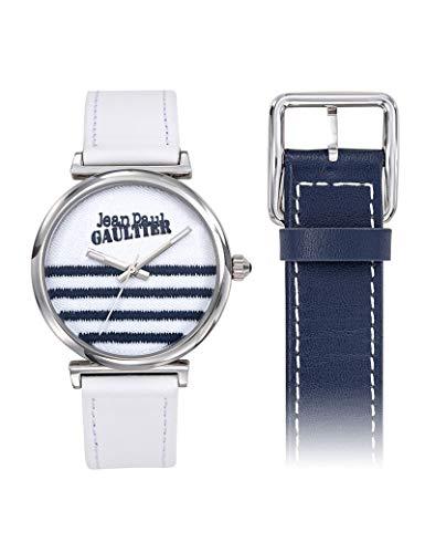 Reloj para mujer – Jean Paul Gaultier – Vice Versa – Correa de piel reversible blanco y azul – 8506601