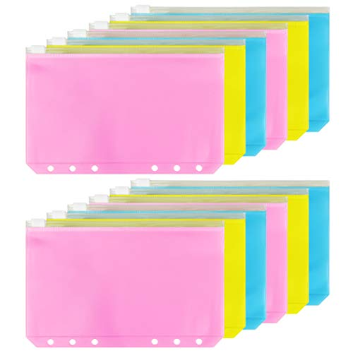 12pcs Binder Pocket A6 Size 6 Holes Binder Zipper Folders for 6-Ring Notebook Binder Loose Leaf Bags, Waterproof PVC Pouch Document Filing Bags Zipper Bags