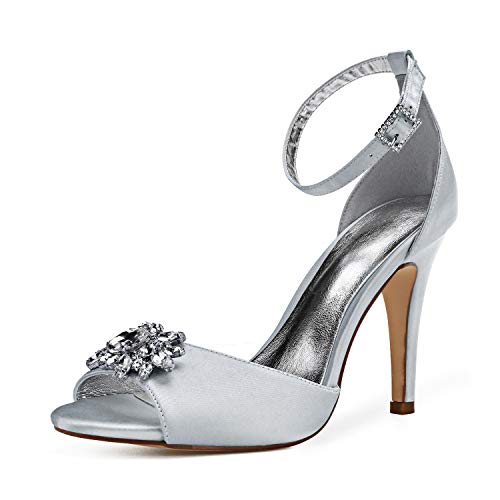 Zapatos De Boda Mujeres Peep Toe Satén Diamantes De Imitación Tacón Alto...