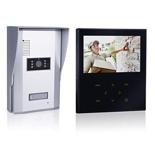 Smartwares VD71Z SW Video-Türgegensprechanlage mit flachem Touchscreen-Panel, Farbbildmonitor, schwarz