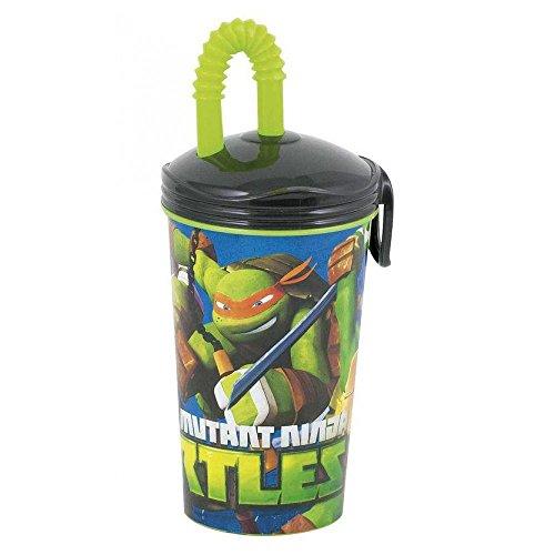 Bicchiere grande in plastica con cannuccia Teenage Mutant Ninja Turtles