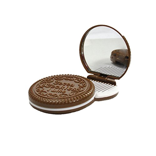 Miroir de Poche en Forme de Biscuit Miroirs à Main Miroir de Maquillage Couleur Random
