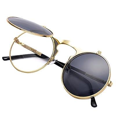 COASION Vintage Round Flip Up Sunglasses for Men Women Juniors John Lennon Style Circle Sun Glasses