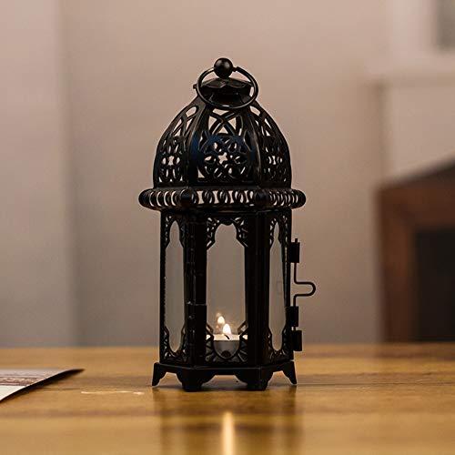 NMKL Lamp Vintage Marokkaanse Stijl IJzeren Glas Lantaarn Decoratie Kaars Houder Ruimte Besparen Binnen Thuis