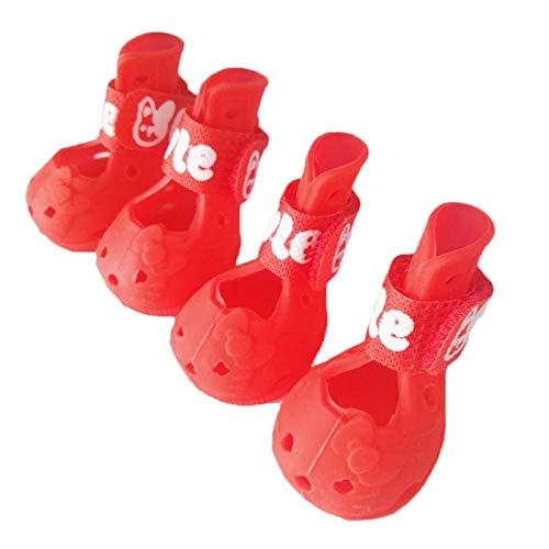 BAYUE 4 Stks/partij Zomer Huisdier Hond Schoenen Waterdichte Ademende Sandalen Schoen Voor Kleine Honden Teddy Anti-Slip Sneakers Supply, XL, Rood