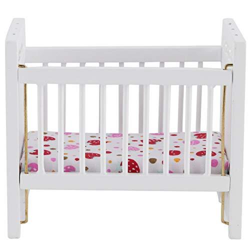 Casa de muñecas Cama rosa, muebles de madera de la casa de muñecas de la cama de bebé,para los accesorios de la casa de muñecas en miniatura