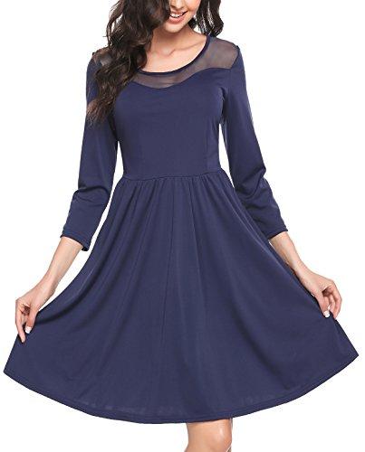 Zeagoo Damen Vintage 50er Jahr Rockabilly Kleid Swing Cocktailkleid Abendkleid Elegantes Kleid, (C)blau, Gr.- 42 EU/ Large