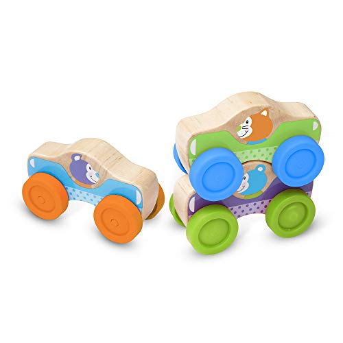 Image of Melissa & Doug First Play Wooden Animal Stacking Cars (Baby & Toddler Developmental Toy, 3 Pieces, Great Gift for Girls and Boys - Best for Babies and Toddlers, 9 Month Olds, 1 and 2 Year Olds)
