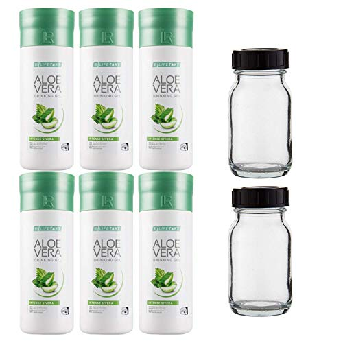 LR Aloe Vera Drinking Gel Intense Sivera 6 x 1000 ml plus 2 x rotating bottle (glass/unfilled) for on the go, 100 ml