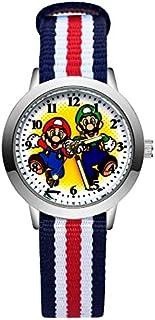 Montre à quartz pour enfants avec bracelet en nylon Motif Mario