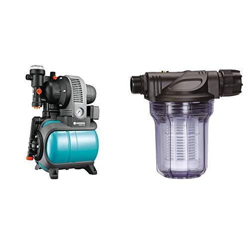 Gardena Classic Hauswasserwerk 3000/4 eco: Hauswasserpumpe mit Thermoschutzschalter, max. Fördermenge 2800 l/h (1753-20) & Pumpen-Vorfilter für Wasserdurchfluss bis 3000 l/h