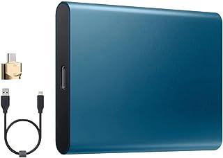 Guangcailun SSD a Stato Solido Disco Rigido del Computer Portatile Type-C USB 3.0 Alta velocità 2TB Mobile Hard Drive, Blu