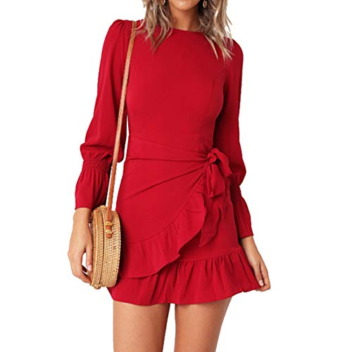 Womens Long Sleeve Round Neck Ruffles Wrap Dresses Party Dress (Red,M)