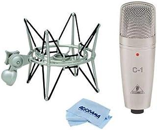 Behringer C-1 Studio Condenser Microphone - With Samson SP04 Spider Shockmount for GM1U G Track Microphone, Microfiber Cloth